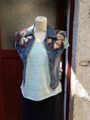 Jeansweste mit Glitzersteinchen - XS - gut!