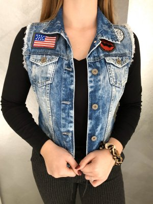 Jeansweste mit Patches Gr. 36