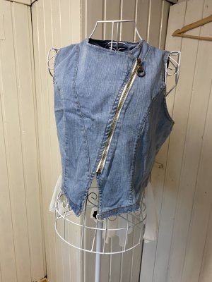 Gilet en jean blanc-bleu