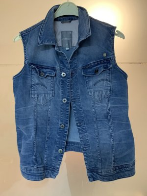 G-Star Denim Vest blue-cornflower blue cotton