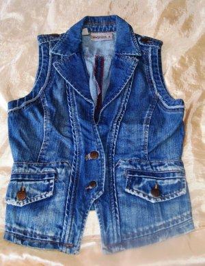 Mango Jeans Gilet en jean bleu acier coton