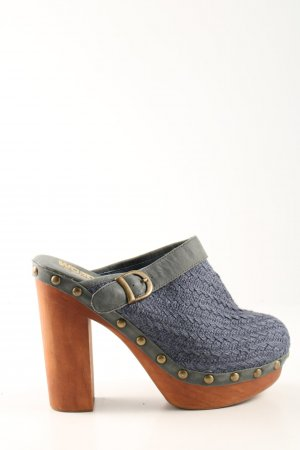 Jeffrey Campbell Heel Pantolettes blue-light grey cable stitch casual look