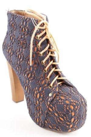 Jeffrey Campbell Absatz Stiefel hellorange-dunkelblau extravaganter Stil