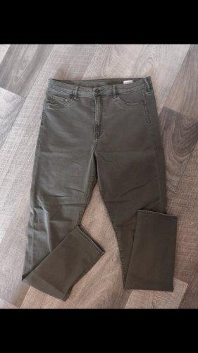 H&M Hoge taille broek olijfgroen-khaki