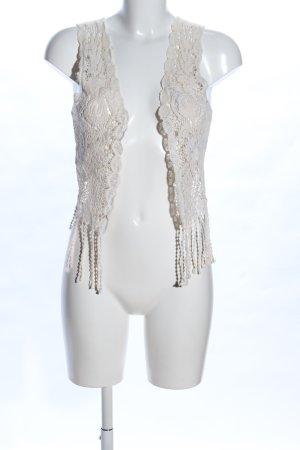 Jennifer Taylor Chaleco con flecos crema Mezcla de patrones elegante