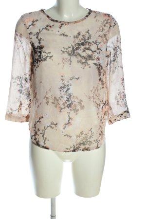 Jennifer Taylor Kurzarm-Bluse creme-braun Blumenmuster Business-Look