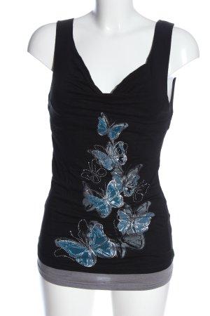 Jennifer Taylor Kurzarm-Bluse Motivdruck Casual-Look