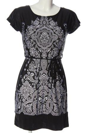 Jennifer Taylor Kurzarmkleid schwarz-weiß abstraktes Muster Casual-Look