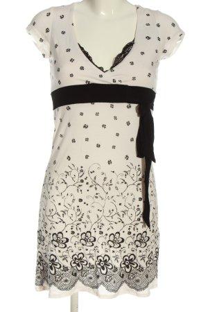 Jennifer Taylor Kurzarmkleid creme-schwarz Blumenmuster Casual-Look