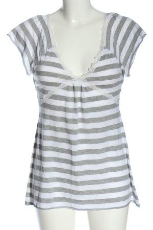 Jennifer Taylor Maglietta a righe bianco-grigio chiaro puntinato stile casual