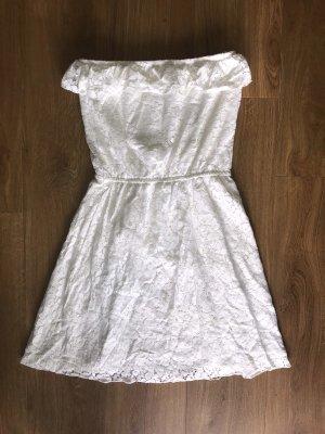 Jennifer Taylor Spitzenkleid Kleid Spitze Bandeau weiß Gr.M 38 Stretch