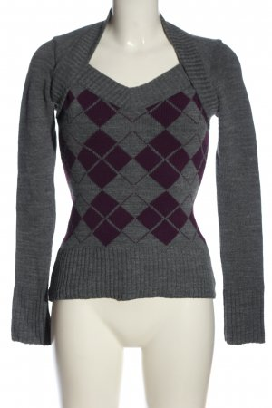 Jennifer Taylor Strickpullover hellgrau-lila grafisches Muster Casual-Look