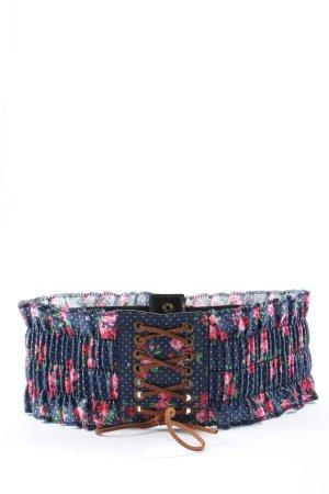 Jennyfer Pasek materiałowy niebieski-różowy Wzór w kwiaty W stylu casual