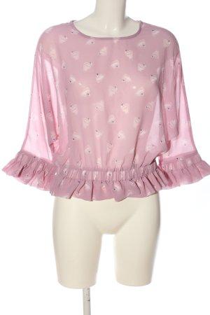 Jennyfer Transparentna bluzka różowy-w kolorze białej wełny Nadruk z motywem