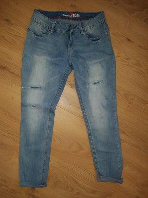 Buena Vista Jeans boyfriend bleu azur coton