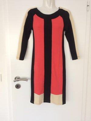 Jersey Kleid im sportlichen Bauhaus Stil koralle-schwarz-beige L: ca. 91cm