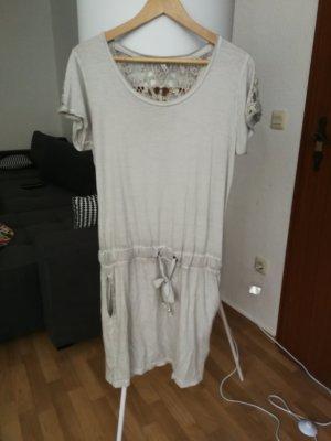 jersey Kleid in grau mit Spitze in Größe m