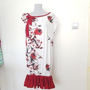 Robe en jersey blanc-rouge foncé coton