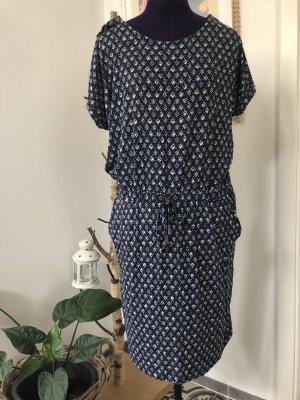 Jersey Kleid T-Shirt Kleid sommer frühling stretch 40 L Blau gemustert knielang