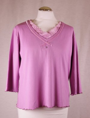 Jersey Shirt V-Neck Rüsche Lebek Collection Größe L 42 Rosa Rose Samt Band Spitze Strass Viskose