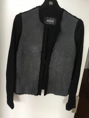 Jerseyjacke mit Lammfellbesatz