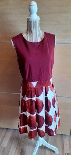 Anna Field A-lijn jurk wit-bordeaux
