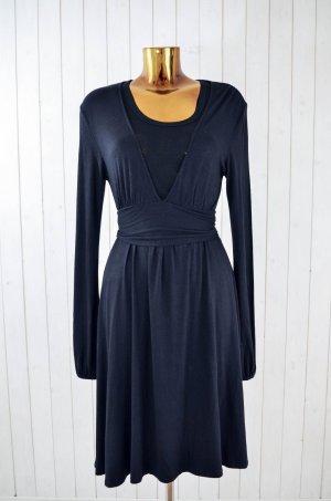 JERSEYKLEID Kleid Jersey Schwarz Wickelkleid V-Ausschnitt Langarm Gr.ca.38