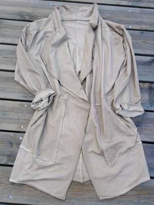 Oversized jas grijs-bruin-zandig bruin
