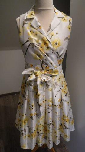 Jessica Howard Kleid Petticoatkleid im Stil der 50er Jahre weiss/gelb Gr. 40