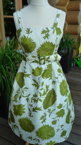 Jessica Howard Midikleid 50iger Jahre-Stil creme/grün Gr. 34/36 (bitte Maße beachten!)