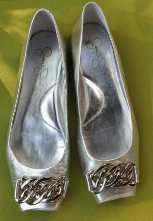 Jessica SIMPSON silberne  Leder Ballerinas
