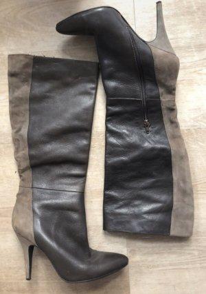 Jessica Simpson Stiefel Boots Grau Schwarz Leder Velourleder 40