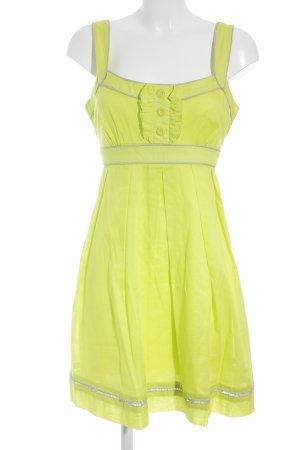 Jessica Simpson Trägerkleid limettengelb Zierknöpfe