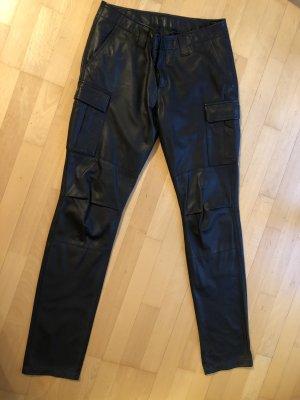 Jet Set Skórzane spodnie czarno-brązowy