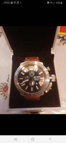 Jet Set Horloge met lederen riempje zwart-lichtbruin