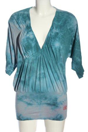 Jet Set V-Ausschnitt-Shirt blau-weiß Farbverlauf Casual-Look