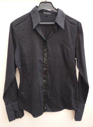 JETTE JOOP schwarze Bluse mit Glitzerplättchen Baumwolle Gr. 42