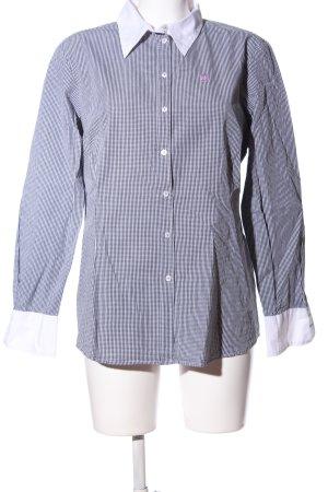 Jette Langarm-Bluse weiß-schwarz grafisches Muster Business-Look