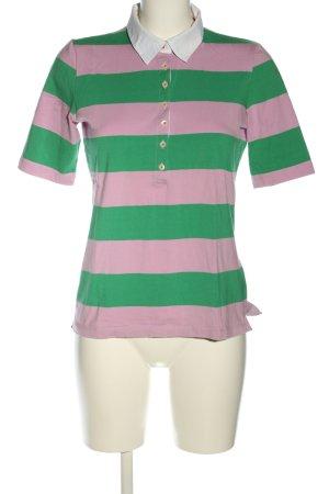 Jette Polo-Shirt pink-grün Streifenmuster Casual-Look