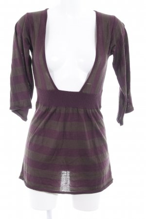 Jette V-Ausschnitt-Pullover brombeerrot-grüngrau Streifenmuster Casual-Look