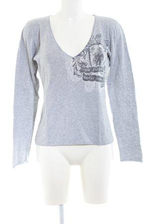 Jette V-Ausschnitt-Shirt hellgrau meliert Casual-Look