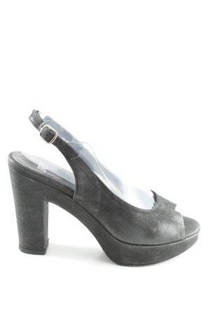 JFK Sandalias de tacón de tiras negro look casual