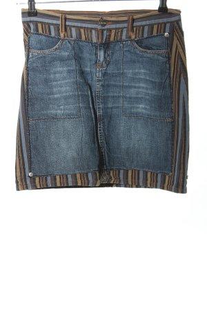 Jiggy Jeansrock blau-braun Streifenmuster Casual-Look