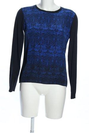 JIGSAW Longsleeve schwarz-blau Blumenmuster Business-Look