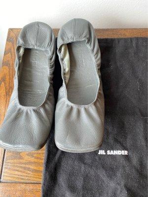 Jil Sander Ballerines pliables gris-gris foncé cuir