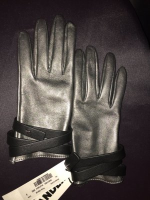 Jil Sander Leather Gloves silver-colored-black leather