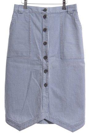 Jil Sander Rok met hoge taille donkerblauw-wit gestreept patroon