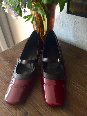 Jil Sander Ballerina di pelle verniciata rosso scuro-nero