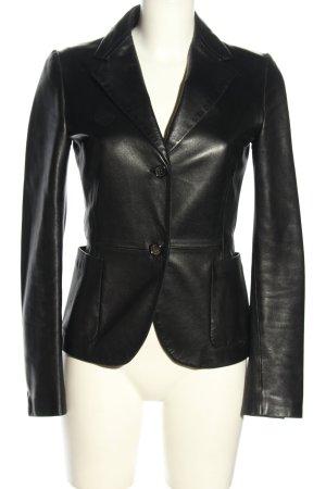 Jil Sander Blazer en cuir noir style décontracté