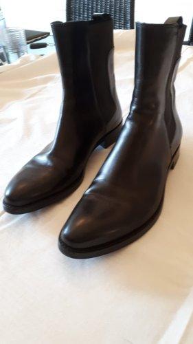 Jil Sander Leder Boots Gr. 39, schwarz